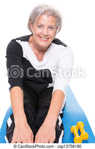 Senior woman at workout - csp13756190