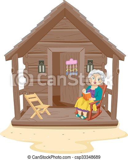 Senior Woman Beach Cabin