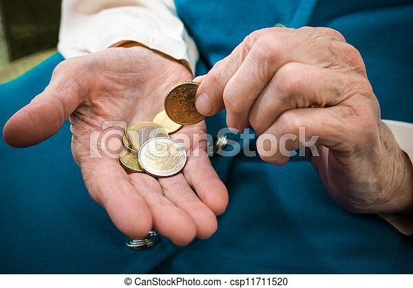Senior woman counting money - csp11711520