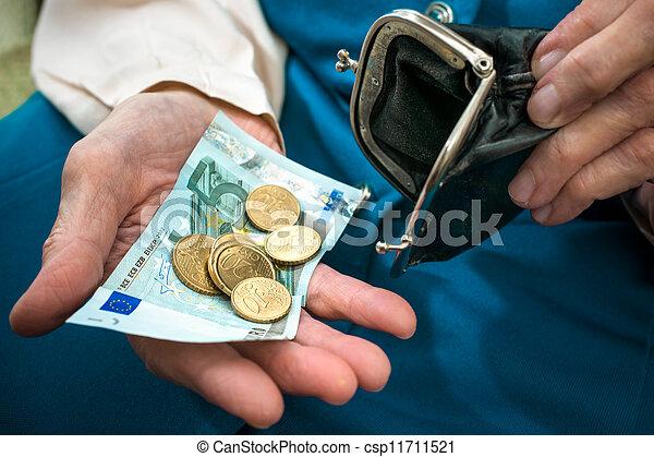 Senior woman counting money - csp11711521