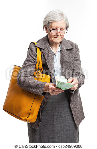 Senior woman counting money - csp24909008
