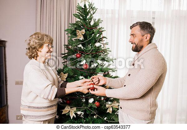Senior Woman Decorating Tree with Son - csp63543377