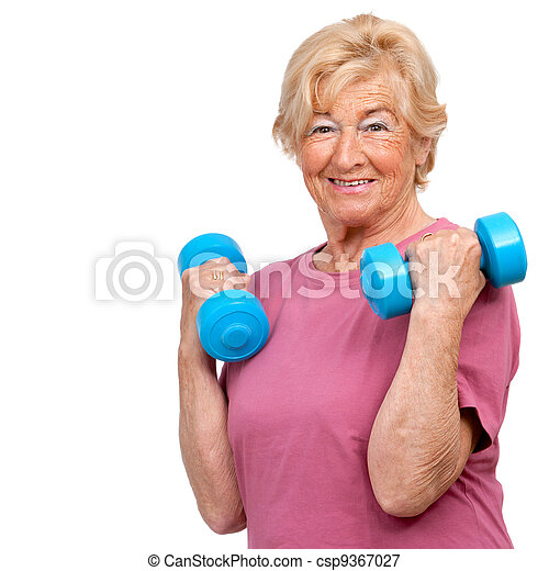 Senior woman doing workout. - csp9367027