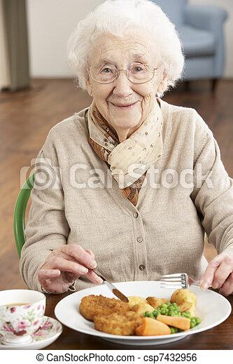Senior Woman Enjoying Meal - csp7432956