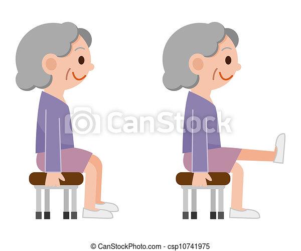Senior Woman Exercises Stock Illustrations Search Eps
