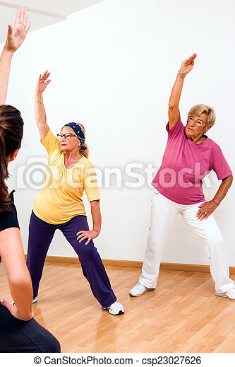 Senior woman in aerobic session. - csp23027626