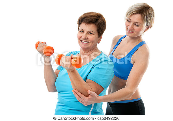senior woman in gym - csp8492226