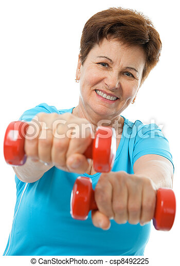 Senior woman in gym - csp8492225