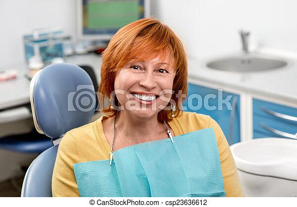 Senior woman in the dental office. - csp23636612