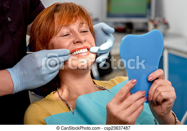 Senior woman in the dental office. - csp23637487