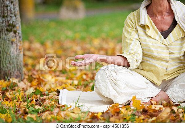 Senior Woman Meditating In Lotus Position - csp14501356