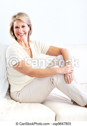 Senior woman relaxing at home. - csp9847803