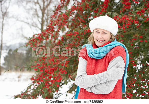 Senior Woman Standing Outside In Snowy Landscape - csp7435862