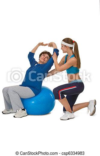 senior woman stretching - csp6334983
