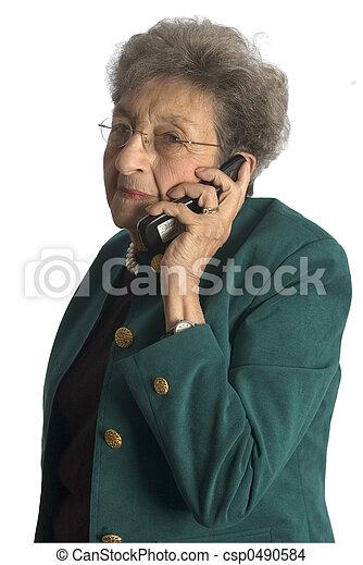 senior woman telephone - csp0490584