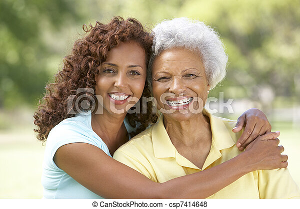 Senior Woman With Adult Daughter In Park - csp7414648