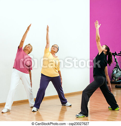 Senior women doing aerobic workout. - csp23027627