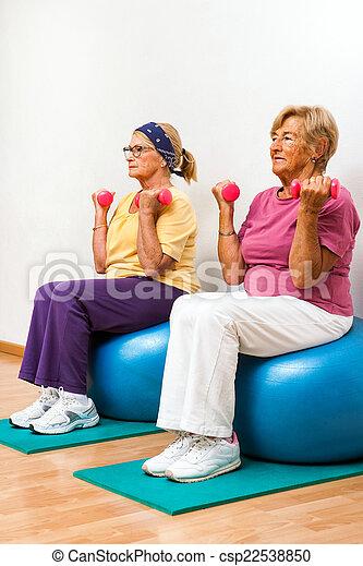 Senior women exercising in gym. - csp22538850