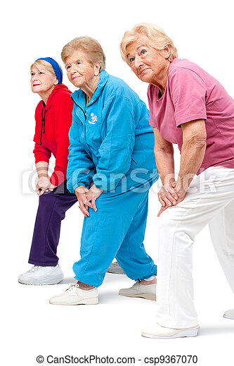 Senior women streching legs. - csp9367070