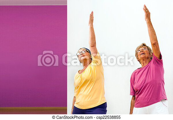 Senior women stretching in gym. - csp22538855