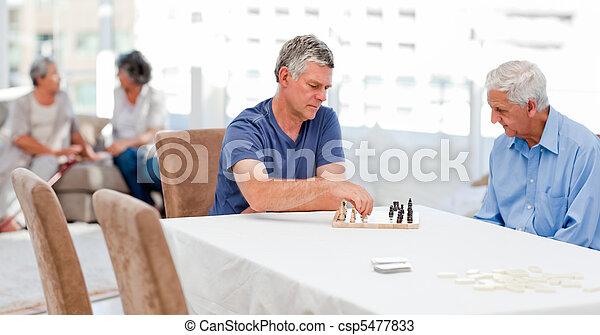 Seniors playing chess - csp5477833