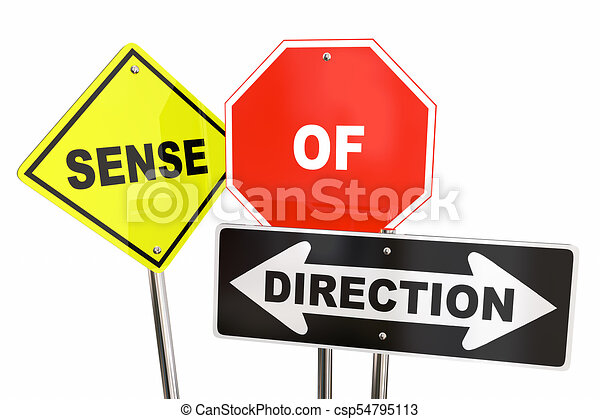 Sense of Direction Road Signs Guidance 3d Illustration - csp54795113
