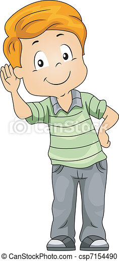 illustration of a kid demonstrating his sense of hearing rh canstockphoto com clipart hearing loss hearing clipart