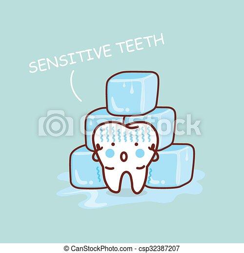 sensititive, cartone animato, dente - csp32387207