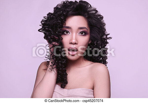 Asian girl curly hair