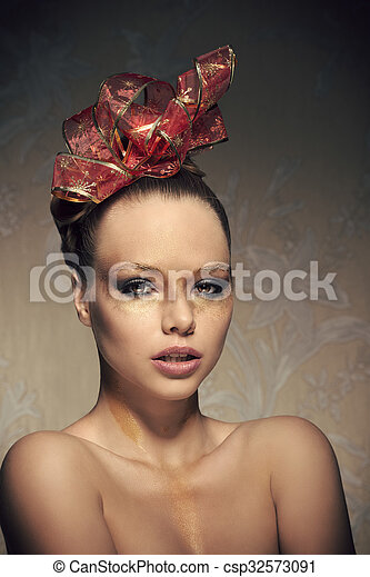 b2aaccb8c Sensual girl with christmas make-up . Beauty portrait of stunning ...