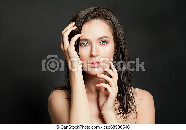 Sensual woman on black background - csp68380540