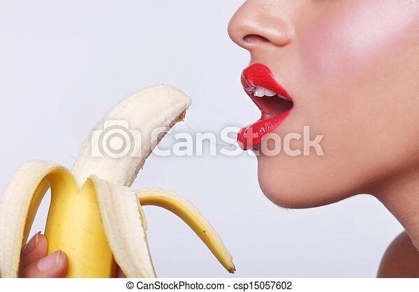 Sensual Woman Preparing to Eat a Banana  - csp15057602