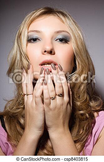 sensual young blonde - csp8403815
