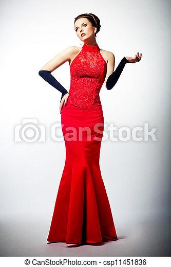 fotos oficiales clásico 100% de alta calidad sensuality., joven, novia, magnífico, vestido, rojo, europeo