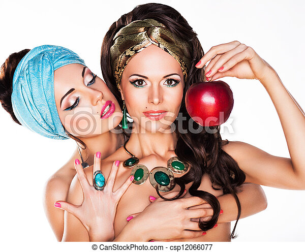 Sensuality. Women Hugging and Holding Red Apple - csp12066077
