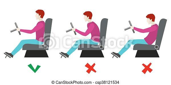 sentado, driver., malo, vector, infographics, posturas, correcto - csp38121534