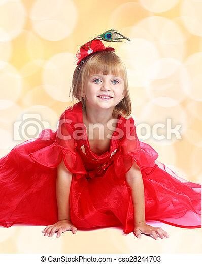 Sentado Moderno Brillante Flo Rubio Vestido Niña Rojo