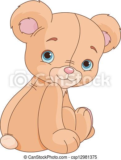 sentado, oso, teddy - csp12981375