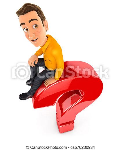 sentado, pregunta, 3d, marca, cima, hombre - csp76230934