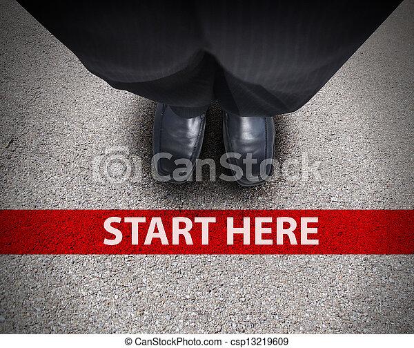 sentier, business, route, homme, ligne, commencer - csp13219609