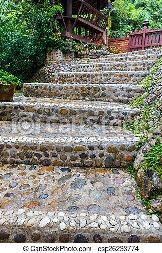 Sentier, pierre, escalier, jardin.