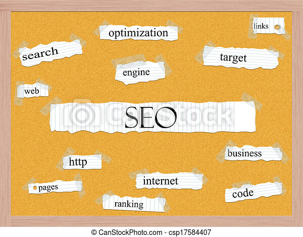 SEO Corkboard Word Concept - csp17584407