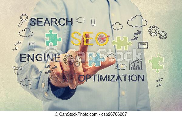 seo, homme, jeune, pointage, concepts - csp26766207