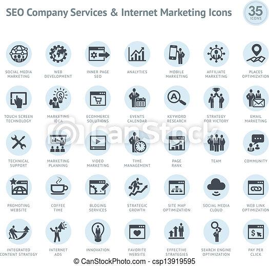 Set von SEO und Marketing-Ikonen - csp13919595