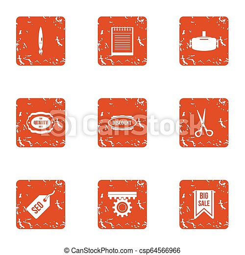 SEO sale icons set, grunge style - csp64566966