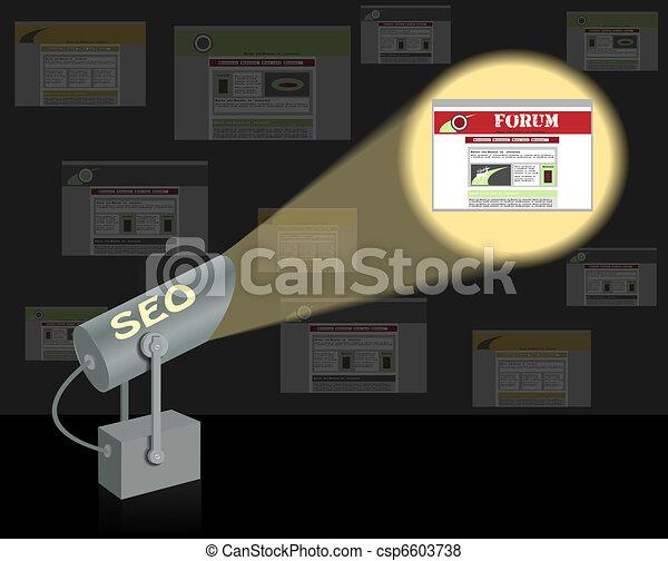 SEO-searchlight. Search optimization concept. - csp6603738