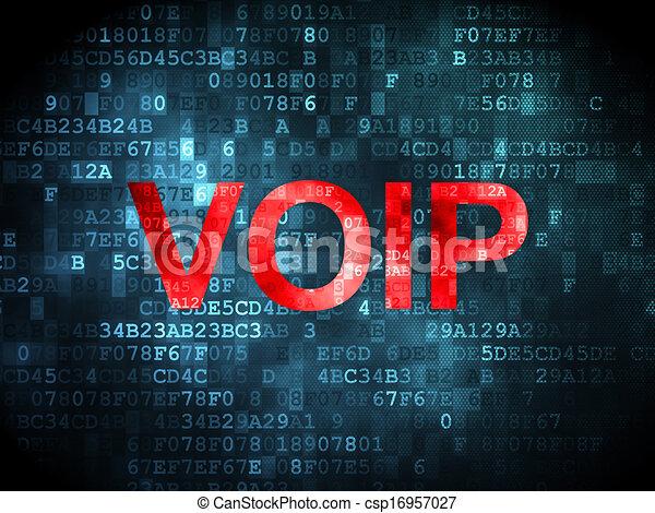 SEO web development concept: VOIP on digital background - csp16957027