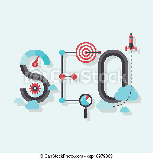 SEO word flat illustration - csp16979063