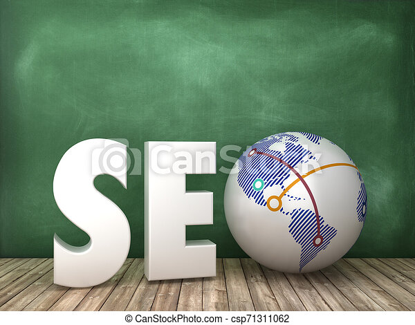 SEO3D Word with Globe World on Chalkboard Background - csp71311062