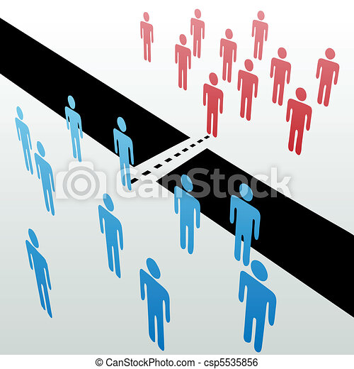 Separate people groups join unite merge together - csp5535856